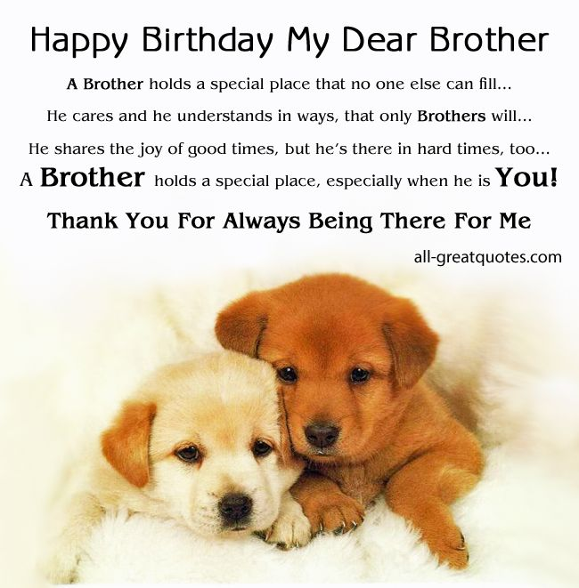 Happy Birthday My Dear Brother - A Brother holds a special place FREE BIRTHDAY CARDS FOR BROTHER http://www.all-greatquotes.com/category/birthday-cards-brother/ - ALL - FREE BIRTHDAY CARDS http://www.all-greatquotes.com/category/happy-birthday-wishes-greetings-cards/ FREE BIRTHDAY CARDS FACEBOOK - https://www.facebook.com/HappyBirthdayCardsAndWishes #birthdaycards #happybirthday #greetingcards #birthday #brother