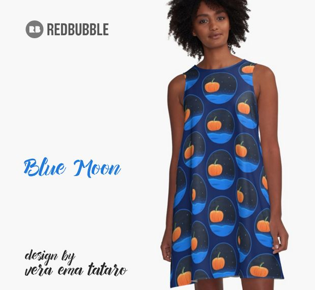 Blue Moon - acrylic painting on canvas - A-Line Dresses by vera ema tataro