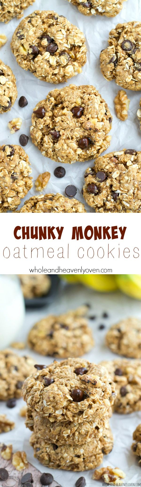 Packed with peanut butter, banana, gooey chocolate and lots of other goodies, these loaded oatmeal cookies are sure to become a cookie jar staple! @WholeHeavenly