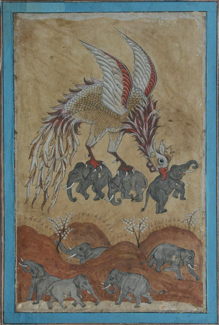 www.IndianMiniaturePaintings.co.uk - The Simurg carring off elephants in its beak and claws. Deccan, circa late 19th century