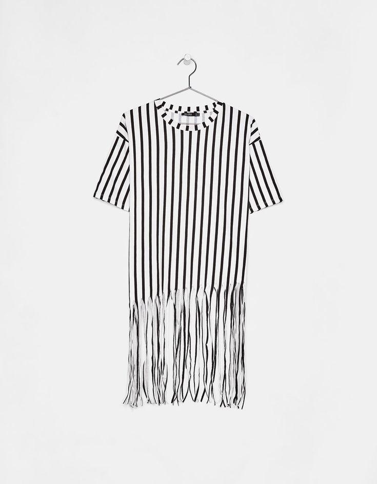 T-shirt à rayures avec franges