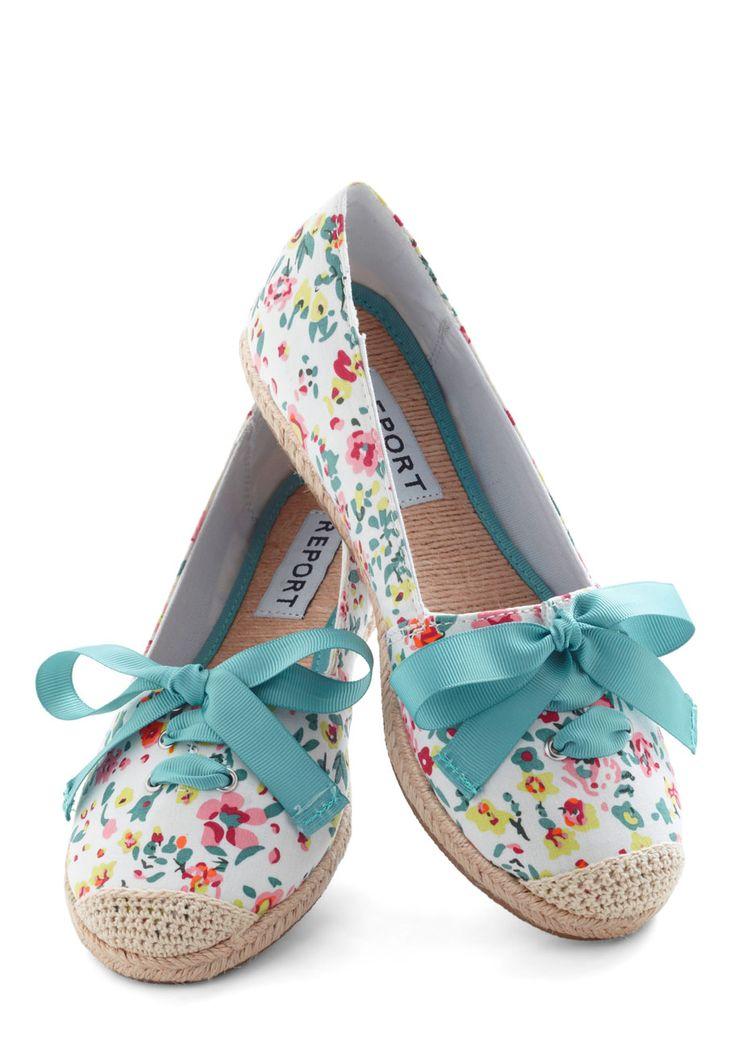 Fresh Foot Forward Flat - Flat, White, Multi, Floral, Crochet, Espadrille, Casual, Spring. Wear with pear dress?