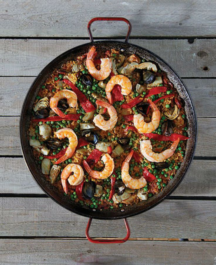 A delightful twist on a Valencian paella, this recipe features chicken, shrimp, and mussels (as opposed to the more traditional combination of rabbit, snails, and chicken). Paprika and chorizo add a smoky, spicy kick.
