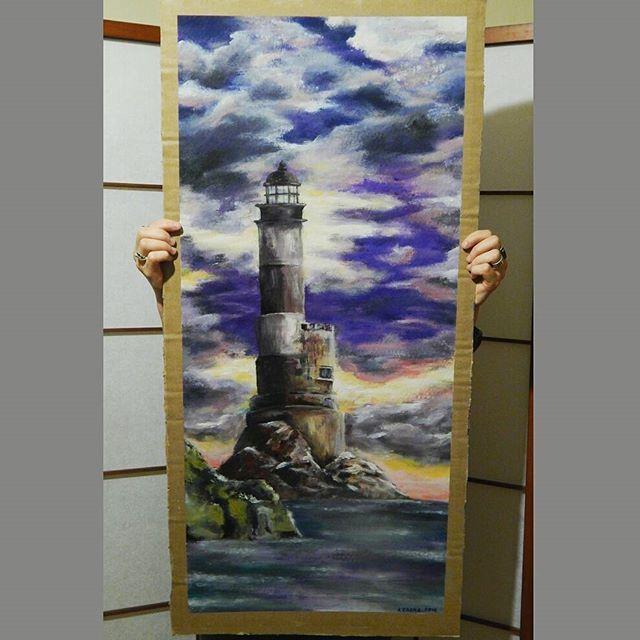 #Маяк Анива #Сахалин #акрил  #lighthouse #art #sea #sky #