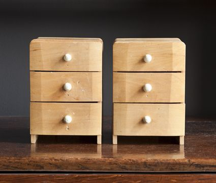 Miniature Birch Chests | Maxine Snider Inc.  interior design, antique, vintage, curated, curio, table top, display, storage, furniture