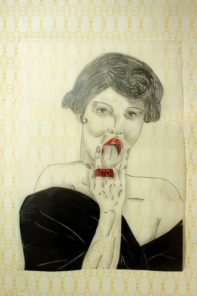 Roxanne Lacourcière - J't'une bitch (2014) plomb et broderie sur papier acétate, sérigraphie, 29.5PO X 42,5PO – Prix : 400$