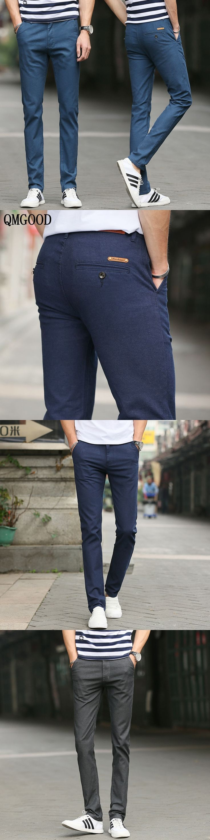QMGOOD New Business Casual Pants Skinny Men Spring Summer Men's Cargo Pants 4 Color Cotton Straight Jeans Slim Trousers 28-38