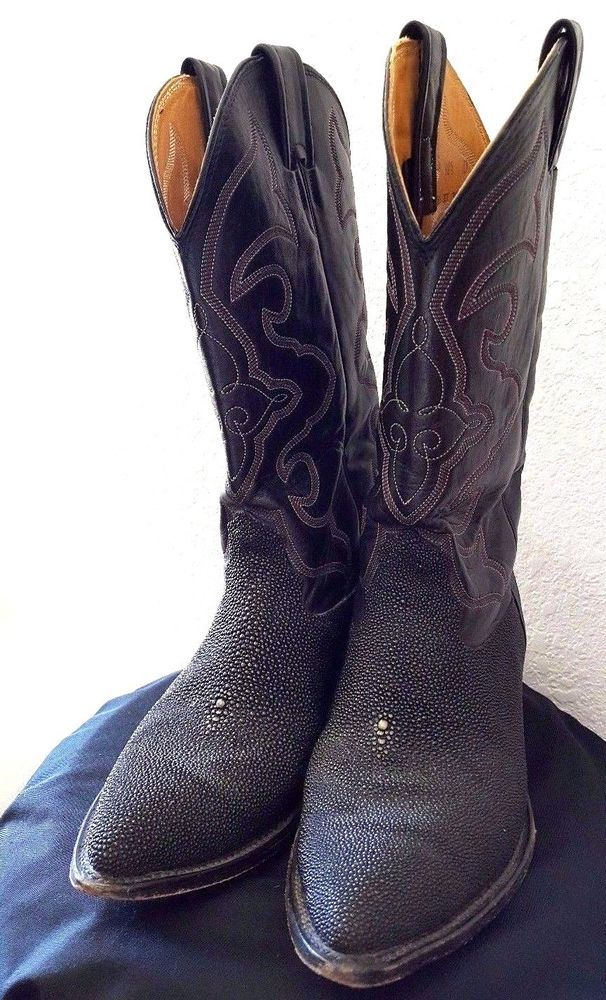 cb3fda6a6f5 Nocona Boots black leather & Stingray size 10 1/2 used men's made in ...
