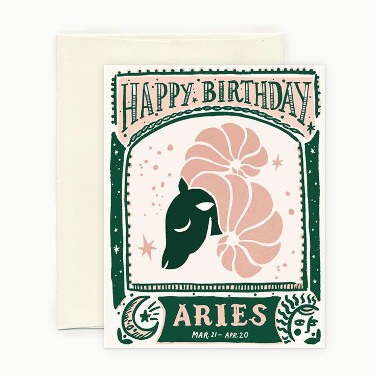 Aries Horoscope Birthday Card