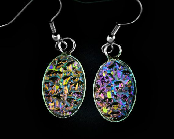 Elegant Ellipses, Bismuth Metal Crystal Earrings, Iridescent dangle hanging Unique Jewelry