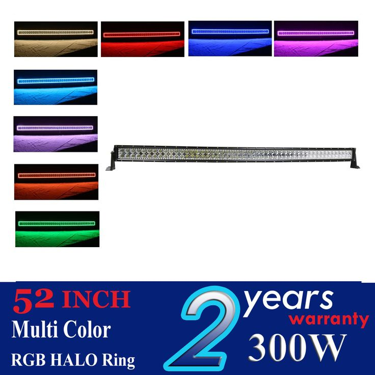 17 best led offroad lighting bar working light images on pinterest 300w 52inch straight led light bar rgb multi color shifting halo ring offroad aloadofball Image collections