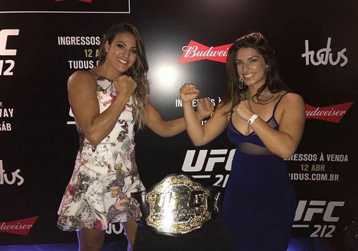 Poliana Potelho & Mackenzie Dern pose with #UFC belt #mma #ufc