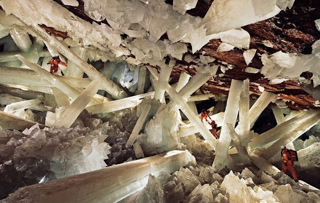 Cueva de los Cristales - The Giant Crystal Cave, Naica, Mexico    This area is known for it's rich mineral deposits, but nothing in the world had ever been discovered like this!    The largest crystals ever discovered, some estimated to weigh as much as 55 tons.    At 50C and a humidity of 100%, the cave so deadly that even with respirators and suits of ice you can only survive for 20 minutes before your body starts to fail.