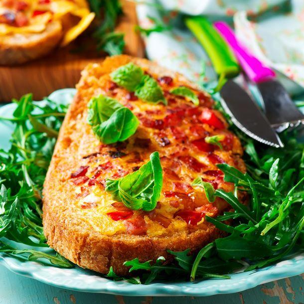 Pain perdu-pizza tomate et mozzarella