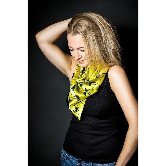 Butterfies on yellow square silk satin scarf  Women fashion