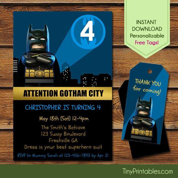 Lego Batman Invitations + Free Batman Thank You Tags, Lego Batman Birthday, Lego Batman Party, Lego Birthday Invitation, Lego Batman Movie by Tinyprintables on Etsy https://www.etsy.com/listing/522519555/lego-batman-invitations-free-batman