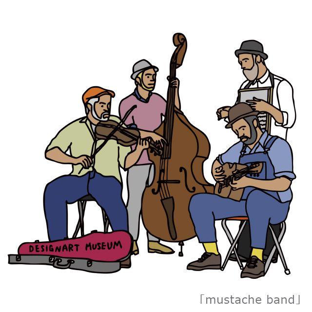『mustache band/takesick』 ユニクロTシャツグランプリ2009(UTGP09)Juergen teller賞を受賞したTシャツブランド「Panic Junkie」代表兼デザイナーの『takesick』こと山川剛史。→ https://panicjunkie.storeinfo.jp/ 今作品は「音楽」をテーマに制作! 「ヒゲの男たちの音楽を想像してもらえたら嬉しいです。そしてどんな音楽を想像したか聞いてみたいです。」とのこと。