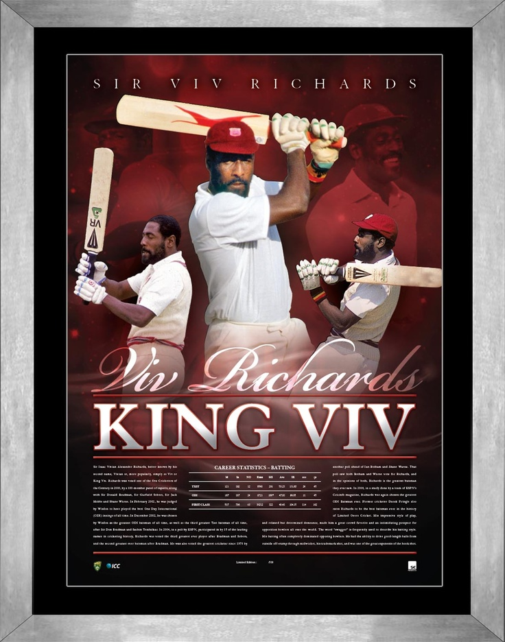 In December 2002, he was chosen by Wisden as the greatest ODI batsmen of all time, as well as the third greatest Test batsmen of all time, after Sir Don Bradman and Sachin Tendulkar. This magnificent lithograph has been personally signed by Sir Viv Richards, and is accompanied with a certificate of authenticity. It is licensed by Cricket Australia and the International Cricket Council and is limited in edition to 200 units only worldwide. Item is framed