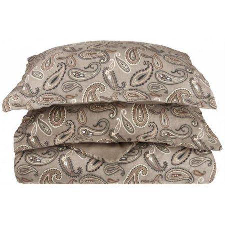 Impressions by Luxor Treasures Flatwdc Pagr Cotton Flannel Twin Duvet Cover Set Paisley, Grey, Multicolor