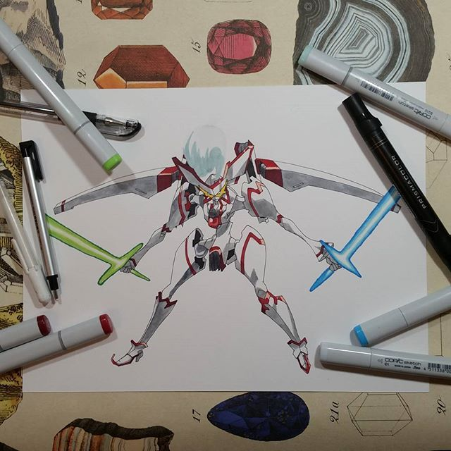 I never though I would enjoy drawing mecha/gundam so much, maybe more in the future. .  .  .  .  #stardriver #star #driver #mecha #gundam #metal #anime #markers #marker #alcoholmarkers #tones #art #artsupplies #supplies #colors #prismacolor #prismacolormarkers #prisma #linework #copic #copics #copicmarkers #tauburn