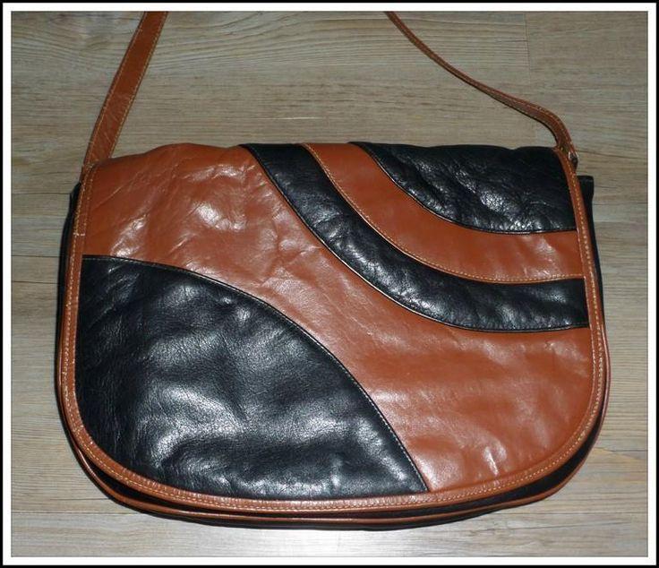 VINTAGE 70s BLACK BROWN LEATHER CROSSBODY shoulder BAG HANDBAG SATCHEL clutch XC