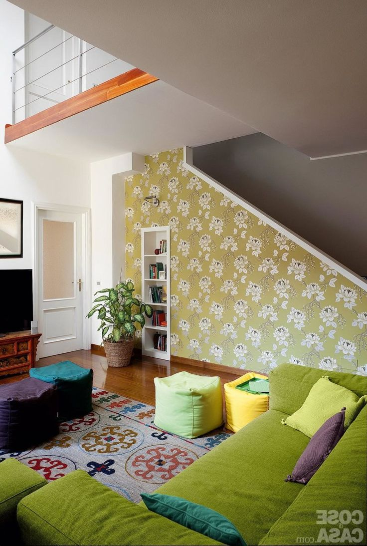 Home decoration, Floral Wallpaper For Decorating Colorful Living Room Interior: 5 steps of decorating interior with wallpaper