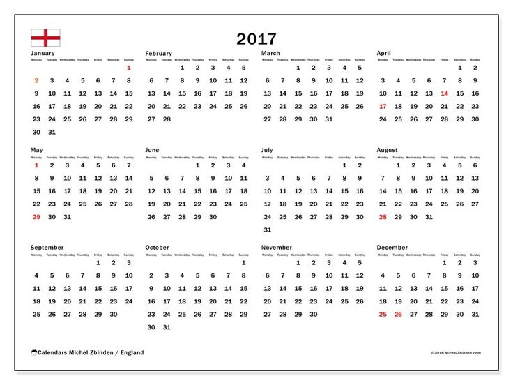 Free! Calendars for  2017 to print - United Kingdom