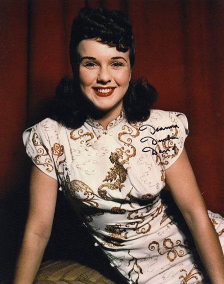 Deanna Durbin - Mid 1940s white gold dress fashion style color photo print ad movie star 40s