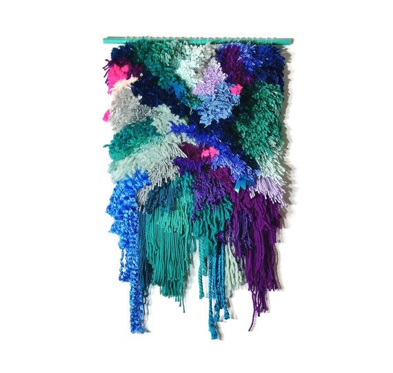 Furry Seascape n. 3// Handwoven Tapestry Wall hanging Weaving Fiber Art Textile Wall Art Woven Home Decor Jujujust