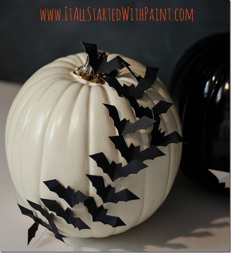 Bats Flying Across A Pumpkin - It All Started With Paint