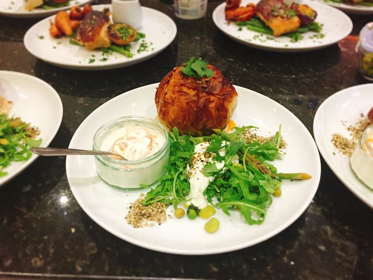 Morrocan spiced butternut squash, apricot and mixed seed filo pie with dukkah, hummus, Harissa Greek yoghurt with a rocket, pea, asparagus and broad bean salad with lemon rapeseed dressing and sour cream #morrocan #butternut #butternutsquash #filo #apricot #spiced #pie #mixedseeds #pumpkinseeds #linseeds #sunflowerseeds #sesameseeds #cumin #turmeric #paprika #cayenne #lemon #rapeseed #hummus #dukkah #harissa #greekyogurt #greekyoghurt #rocket #pea #asparagus #broadbean #salad #sourcream