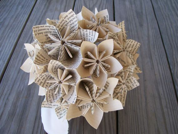 Eco Friendly Paper Flower Bridal Bouquet  Book Text by PoshStudios, $75.00  We could make them by hand.