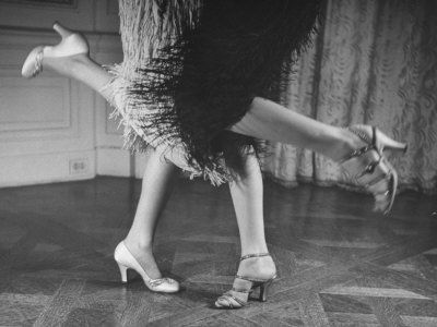 Charleston Dancers in Fringed Skirts Wearing Rhinestone-Trimmed Pumps and Strapped Sandals Premium Photographic Print