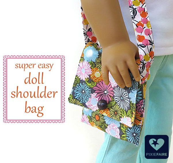 FREE Tutorial - Super Easy Doll Shoulder Bag made with the cutest fabric around, fabric designed by @Josephine Kimberling Kimberling!