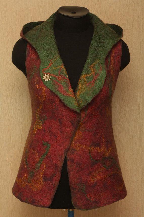 Autumn Marathon / Felted Clothing / Vest by LybaV on Etsy, $200.00