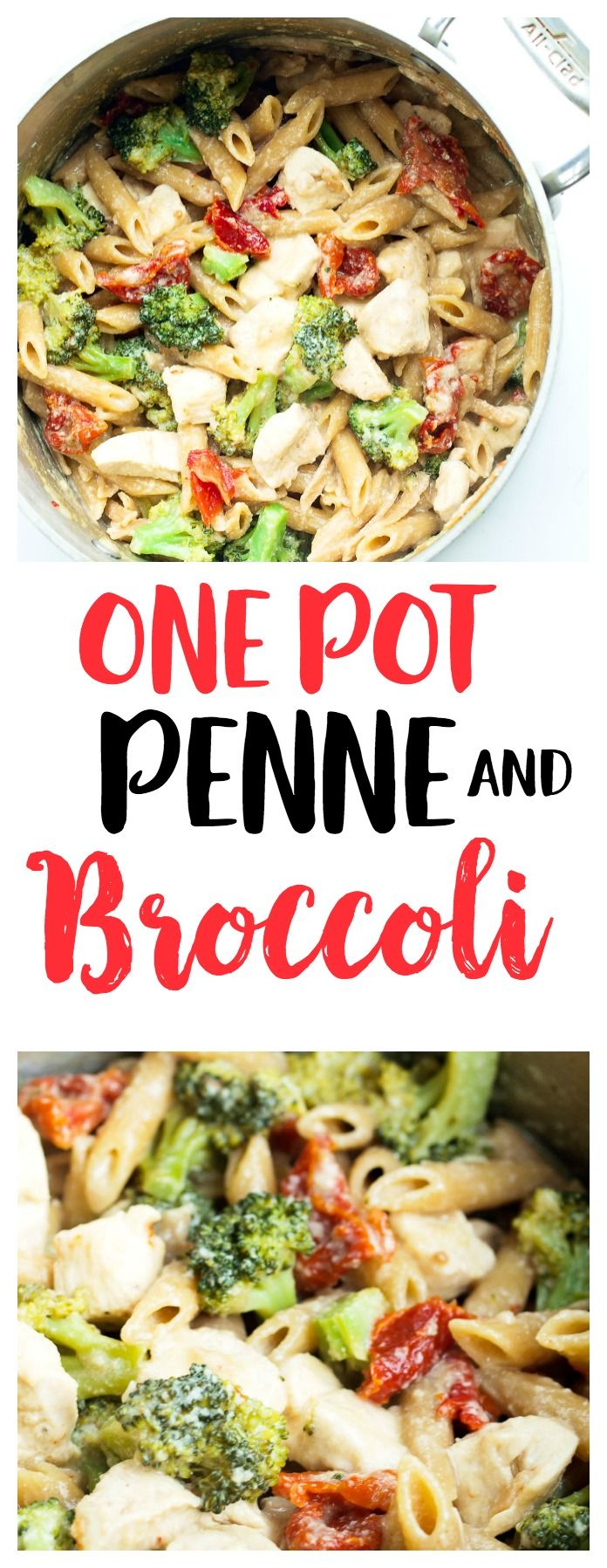 Creamy and Light! One Pot Pasta recipe--the best one pot penne with broccoli and sun-dried tomatoes. Healthy and delicious