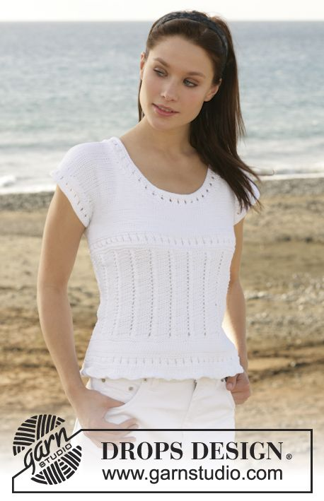 "DROPS top with lace pattern in ""Muskat"".  Free pattern by DROPS Design."