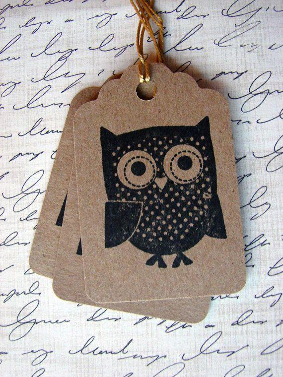 hand stamped owl kraft paper gift tags, set of ten handmade designs and vintage treasures by studio346. $5.00, via Etsy.