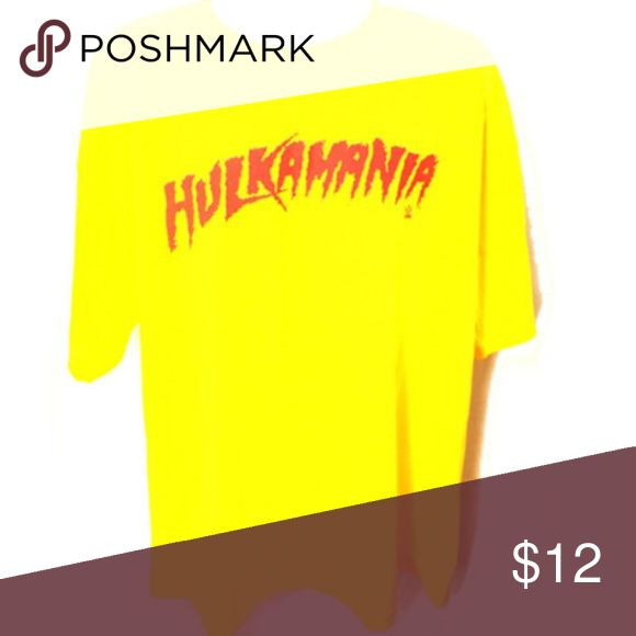 """Hulk Hogan WWE HULKAMANIA  T-shirt (XXL) Show your love for HULKAMANIA with is fun logo  Shirt Original HULKAMANIA logo simple look showing your love for everything WWE Official licensed  WWE  100% cotton   XXLARGE 25"""" flat end to end underarm chest / length 32""""  9620 WWE Shirts Tees - Short Sleeve"""