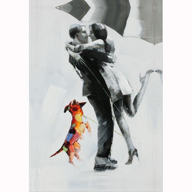 Πίνακας Ερωτευμένο ζευγάρι και σκύλος 60Χ90 http://www.lovedeco.gr/p.Pinakas-Mpalarina.769381.html