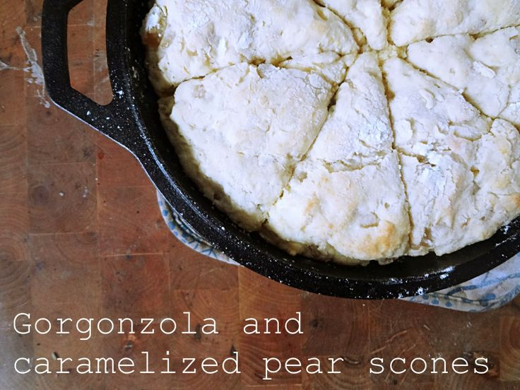 Gorgonzola and caramelized pear scones