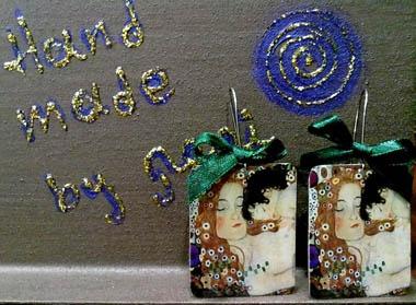 ''G.Klimt Γ''  Σκουλαρίκια από azardo και υγρό γυαλί.  www.todiporto.com