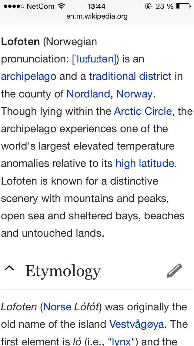 Some information about Lofoten
