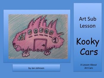 This art sub lesson is about a real type of sculptural art called Art Cars.  Warhol created one.  Lichtenstein created one.  Keith Haring created one.  Everyday people create them too. This PowerPoint lesson gives the teacher a script with questions about a variety of art cars and inspires the students into creating drawings of original art cars.This lesson was written so that it could be taught by an art sub, but would also be appropriate for art teachers and classroom teachers, with or…