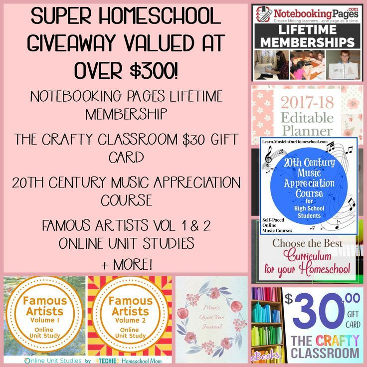 Over $300 worth of goodies in this homeschool giveaway! Notebooking  Pages, Online Unit Studies, Crafty Classroom, Music in our Homeschool,  and more!