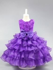 Flower Girl Dresses Lavender Tiered Organza Kids Pageant Dresses Tutu Ribbon Bow Ball Gown Social Party Dresses