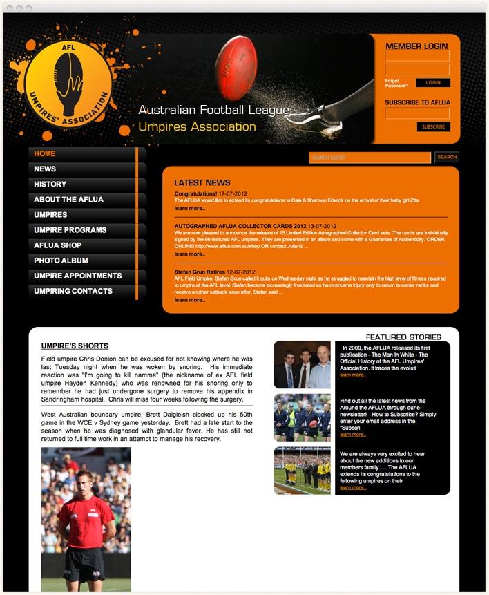 Official Website of Australian Football League Umpires Association with the information on Association history, AFL umpire statistics, umpire profiles, AFL Umpires Awards, news and milestones.