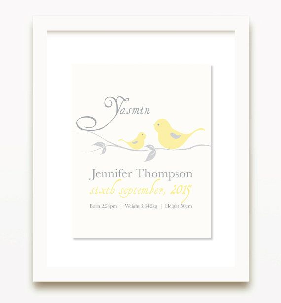 Printable personalised Birth Print. Yellow Girl Nursery Wall Art. Personalised Baby Girl Name Print. Birth Announcement. Nursery Decor.