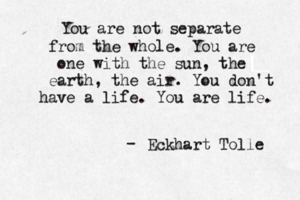 Eckhart Tolle Você não está separado do TODO. Você é um com o Sol, a terra e o ar. Você não tem uma vida. Você É vida!!