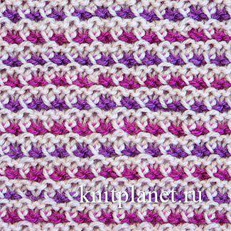 Многоцветный узор спицами № 5 - Предлагаем вашему вниманию схему и видео по вязанию многоцветного узора спицами. Узор на основе платочной вязки, только некоторые петли вяжутся по-особенному. В узоре можно использовать 2 и более цветов. Полотно получается мягким, пластичным и в то же время достаточно упругим.